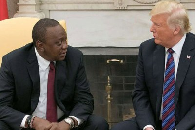 President Uhuru Kenyatta and former U.S. president Donald Trump at the White House in Washington, DC during an official visit on August 27, 2018 (file photo).