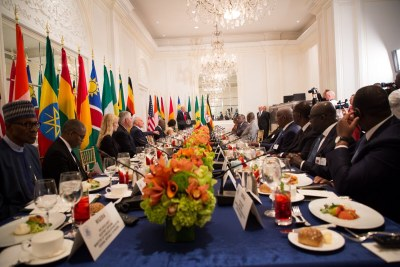 President Donald J. Trump addressing a working luncheon in New York with the leaders of Cote d'Ivoire, Ghana, Guinea, Namibia, Nigeria, Senegal, South Africa, and Uganda.