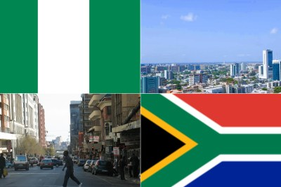 Top: Nigeria flag, Lagos, Bottom: South African flag, Johannesburg city centre