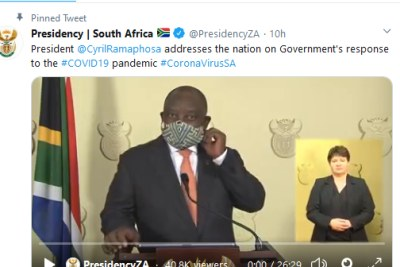 President Cyril Ramaphosa wears a face mask as he begins his address to the nation on April 23, 2020.