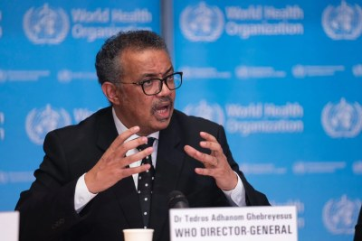 World Health Organization Director-General Tedros Ghebreyesus at a Coronavirus press briefing in Geneva (file photo).