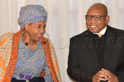Prime Minister Moeketsi Majoro and the First Lady at the inauguration ceremony (file photo).