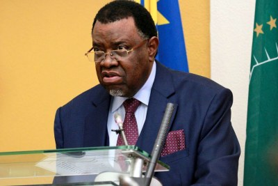 Namibian President Hage Geingob delivering the annual State of the Nation 2020 address to Parliament in Windhoek.