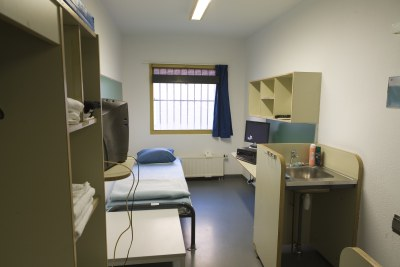 A typical 10 m2 single cell at the ICC Detention Centre in Scheveningen.