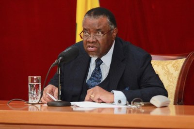 Namibian President Hage Geingob presenting latest statement on COVID-19 restrictions.