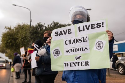 "Yolanda Jackson, a teacher at Portia Primary, said that she wants schools to only be fully open once the ""peak"" is over in the Western Cape."