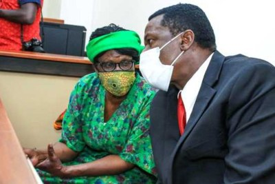 Sirisia MP John Waluke (right) and businesswoman Grace Wakhungu when they appeared in an anti-corruption court in Nairobi for sentencing on June 25.