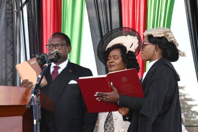 Dr. Dr. Lazarus Mccarthy Chakwera and Saulos Chilima taking oath as president and vice president of Malawi.