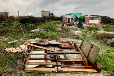 Homes demolished in Vrygrond as a large cold front and heavy rains hit Cape Town (file photo).