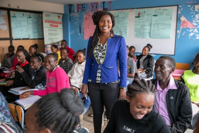 Josephine Mitei, a CAP YEI instructor. CAP Youth Empowerment Institute(CAP YEI) is a Kenyan organization that provides employability skills training and support to marginalized Kenyan youth.
