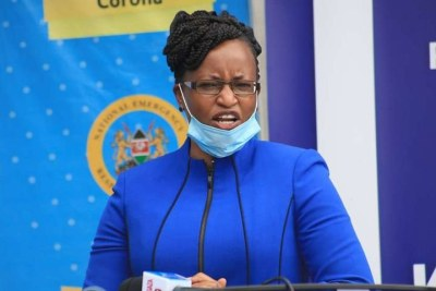 Health Principal Secretary Susan Mochache addressing journalists when she received a donation of Covid-19 kits from the Government of the Republic of Korea at Afya house on June 18.