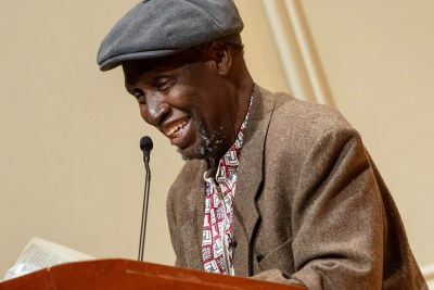 Renowned Kenyan writer Ngũgĩ wa Thiong'o reads excerpts from his recent work in both Gikuyu and English during a presentation in the Coolidge Auditorium, May 9, 2019.