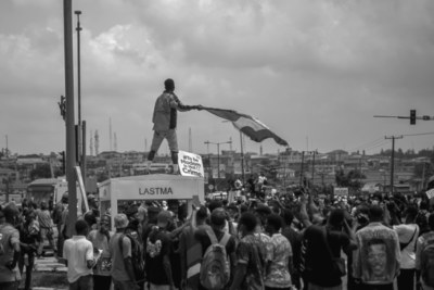 Protesters at an #EndSARS protest in Lagos in mid-October, 2020.