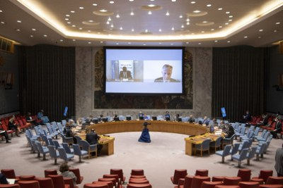 Parfait Onanga-Anyanga, Special Envoy of the Secretary-General for the Horn of Africa, left, and Jean-Pierre Lacroix, right, Under-Secretary-General for Peace Operations, at a 2020 briefing to the  UN Security Council on Sudan and South Sudan and the situation in Abyei.