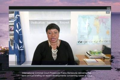 Fatou Bensouda, Procureure de la Cour pénale internationale, devant le Conseil de sécurité par visioconférence (photo d'archives).