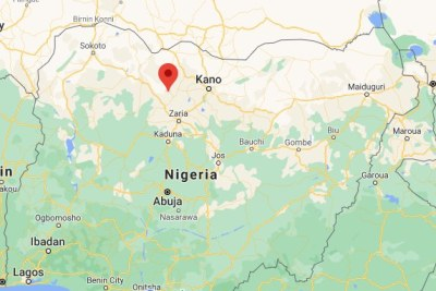 A map showing the location of Kankara in Nigeria.