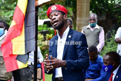 Bobi Wine addresses journalists at his home in Magere, Wakiso District on January 26, 2021.