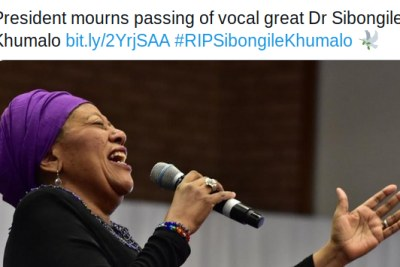 A tweet by the South Africa Presidency announcing the passing of Sibongile Khumalo.