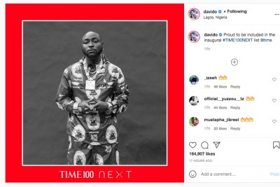 Davido proud to be included in the inaugural #TIME100NEXT list.