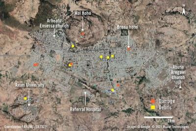 Aperçu des dommages et des débris autour de la ville d'Aksoum, en Éthiopie, région du Tigré, après une attaque par les forces éthiopiennes et érythréennes en novembre 2020.