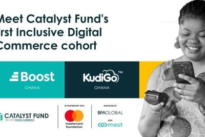 Boost Ghana and KudiGo Ghana are Catalyst Fund's first inclusive digital commerce cohort. Catalyst Fund's Inclusive Digital Commerce accelerator, managed by BFA Global, is in partnership with the Mastercard Foundation COVID-19 Recovery and Resilience Program and the Meltwater Entrepreneurial School of Technology (MEST)
