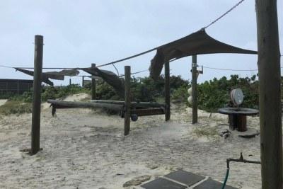 M. Savy a déclaré que certains des bâtiments provisoires qui ne sont pas à l'épreuve des cyclones sur Cosmoledo avaient été en partie endommagés ainsi que sa végétation.