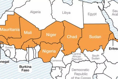 The Sahel region of Africa is a 3,860-kilometre arc-like land mass lying to the immediate south of the Sahara Desert and stretching east-west across the breadth of the African continent.