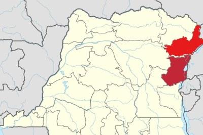 Une carte montrant les provinces de l'Ituri, du haut, et du Nord Kivu en République démocratique du Congo.