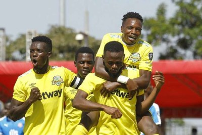 Kariobangi Sharks striker Julius Masaba (right) celebrates with teammates after scoring their first goal against Nairobi City Stars during their BetKing Premier League match at Kasarani Annex on January 30, 2021.