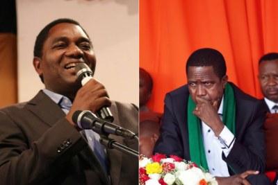 Hakainde Hichilema (G) et Edgar Lungu (D)