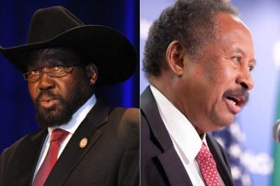Left: South Sudanese President Salva Kiir Mayardit. Right: Prime Minister Abdalla Hamdok of Sudan.