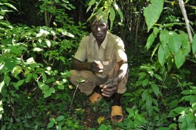 Village elder Wilson Towett with recently planted tree seedlings at the water source in Cheplanget in Kenya's Kericho County, on July 21, 2021.