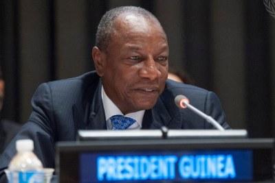 (Photo d'archives) - Alpha Condé, ancien Président de la Guinée lors d'une conférence Internationale des Nations Unies sur Ebola, juillet 2015.