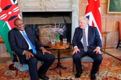 President Uhuru Kenyatta with British Prime Minister Boris Johnson in July 2021.
