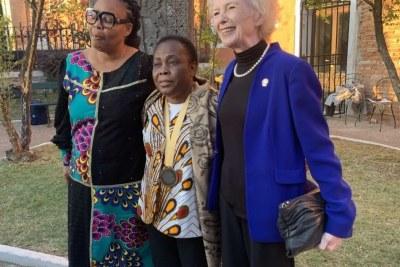 (From left) Nobel peace laureate Leyman Gbowee of Liberia, Aurora Humanitarian Award winner Julienne Lusenge and former Irish President Mary Robinson in Saint Lazzaro island of the Armenians in Venice.