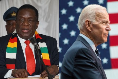 President Emmerson Mnangagwa, left, and U.S. President Joe Biden (file photo).